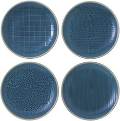 Gordon Ramsay Maze Grill Plates - Set of 4 - Blue - 22cm