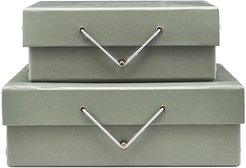 Gray Storage Box with Lid - Set of 2 - Rectangle