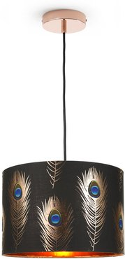 Peacock Feathers Drum Ceiling Light - Small