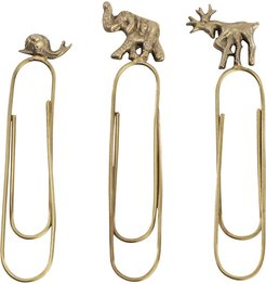 Animal Paperclips - Set of 3 - Antique Brass