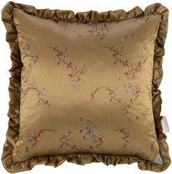 Floral Garland Satin Reversible Pillow - Blue/Toffee - 50x50cm