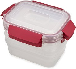 Nest Lock Compact Storage Containers - Red - Set of 3
