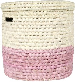 Hapa Hand Woven Color Block Laundry/Storage Basket - Dusty Pink - S