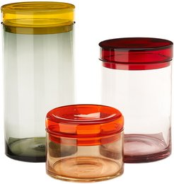 Multicolored Storage Jar with Lid - Set of 3