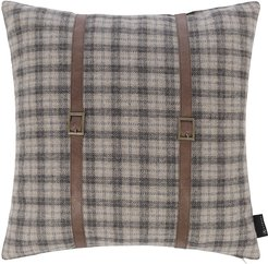 Tartan Pillow With Leather Strap Details - 45x45cm