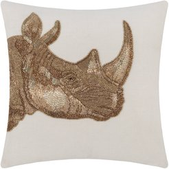Botanist Rhino Pillow - Gold/Light Blue