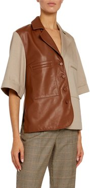 Leather-Front Short-Sleeve Button-Front Shirt