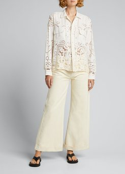 One-of-a-Kind Cutwork Lace Linen Shirt