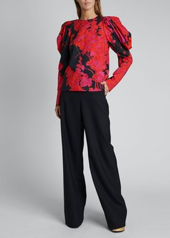 Coal Puff-Sleeve Floral Top