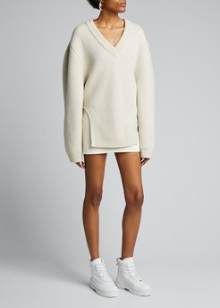 Wool Rounded-Cutout Sweater