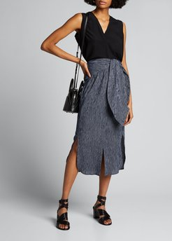 Shirt-Wrapped Cotton Skirt