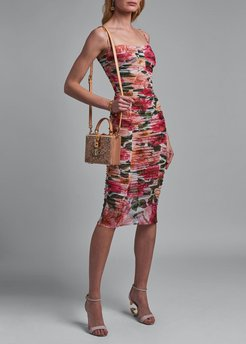 Ruched Floral-Print Bodycon Dress