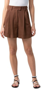 Firis Pleated-Front Stripe Cuff Shorts