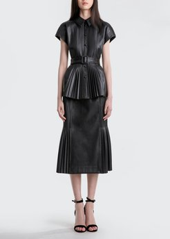 Rowan Belted Pleated Faux-Leather Top