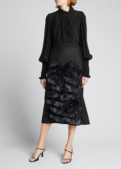 Patlently Yours Silk Crepe de Chine Blouse w/ Crystal Cuffs
