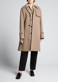 Checked Cotton Trench Coat