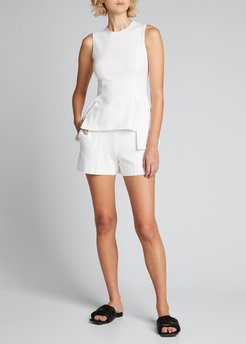 Pintuck Knit Pull-On Shorts