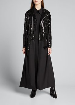 Sequined Belted Moto Long Coat