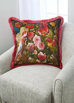 Floral With Love Birds Silk Accent Pillow