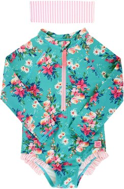 Floral Print One-Piece Rash Guard w/ Headband, Size 2-10