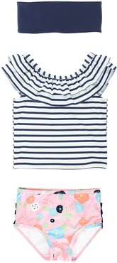 Bouncing Bloom Striped Tankini & Headband Set, Size 3M-10