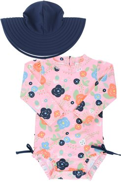 Bouncing Bloom Rashguard with Hat, Size 0 Months-3