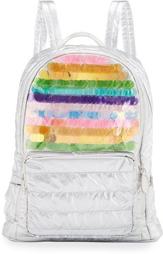 Girls' Rainbow Sequin Quilted Puffy Backpack