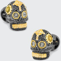 3D Day of the Dead Sugar Skull Cuff Links, Black/Gold