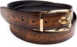B Volute Reversible Scritto Leather Belt