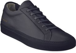 Achilles Leather Low-Top Sneakers, Navy