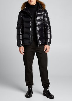 Marque Shiny Quilted Puffer Jacket w/ Fur Hood