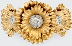 18k Yellow Gold and White Gold 3-Flower Cuff