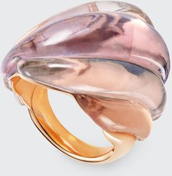 Gleam Ring in 18K Rose Gold Rose Quartz and Amethysts, Size 6.75