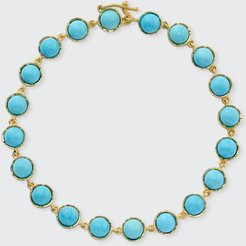 Classic 18k Yellow Gold Bracelet with 5mm Turquoise