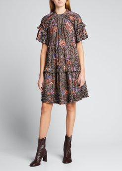 Delia Floral Tiered Ruffle Dress