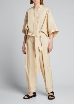 Belted Jumpsuit with Smocked Waistband