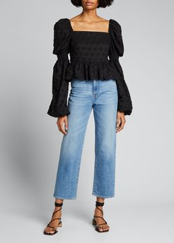 Wren Puff-Sleeve Embroidered Top