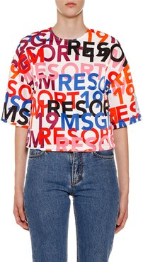 Logo-Print Short-Sleeve Crop Top