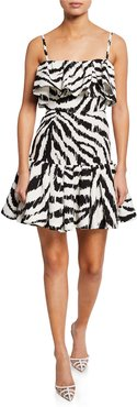 Zebra-Print Sleeveless Ruffle Dress