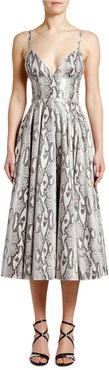 Python-Print Sleeveless Midi Dress