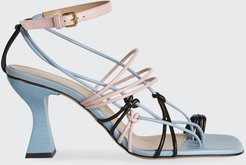 Tricolor Strappy Toe-Ring Sandals