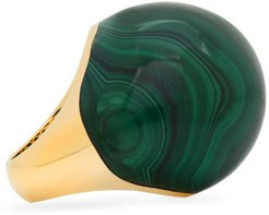 18k Bauble-Shaped Malachite Dome Ring, Size 7