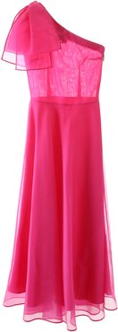 ONE-SHOULDER MIDI DRESS 38 Fuchsia Silk