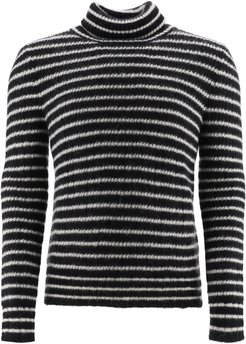 STRIPED MOHAIR SWEATER L Black, White Wool