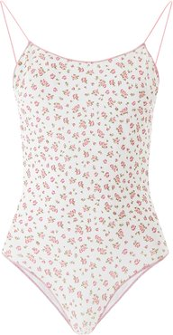 FLORAL SWIMSUIT L White, Pink