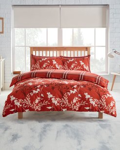 Iona Brushed Cotton Duvet Set in Red