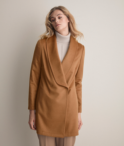 Cashmere Double-Breasted Basic Overcoat Woman Natural Camel Size LL