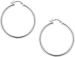 Medium Polished Tube Hoop Earrings in Sterling Silver