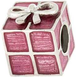 Sterling Silver ZABLE® Gift Box Bead with Pink Enamel