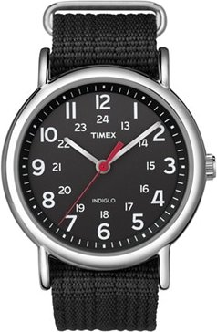 38mm Men's Timex Weekender Slip-Thru Watch with Black Dial and Black Nylon Strap
